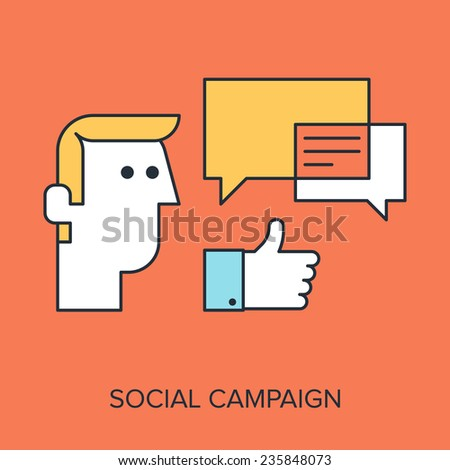 Vector illustration of social campaign flat line design concept. - stock vector