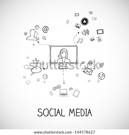 Vector illustration of social media communication with icons - stock vector