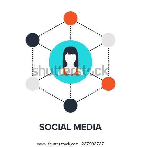 Vector illustration of social media flat design concept. - stock vector