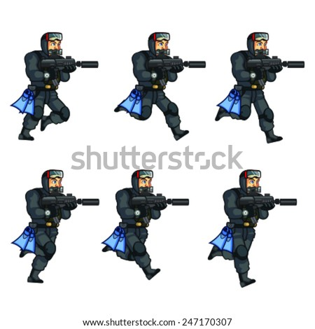 Vector illustration of soldier animation sprite for game - stock vector