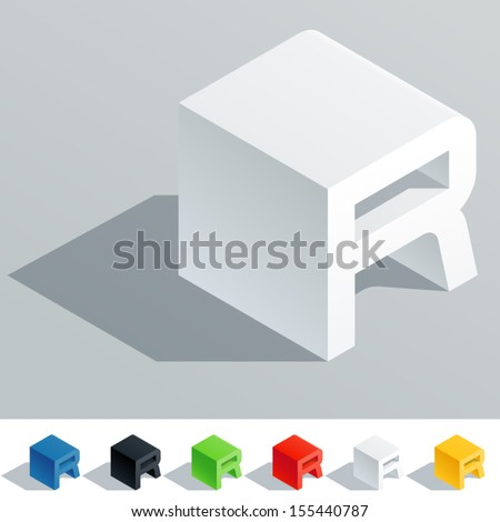 Vector illustration of solid colored letter in isometric view. Cube styled monospace characters. Symbol R - stock vector