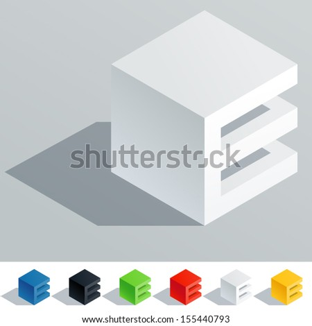 Vector illustration of solid colored letter in isometric view. Cube styled monospace characters. Symbol E - stock vector