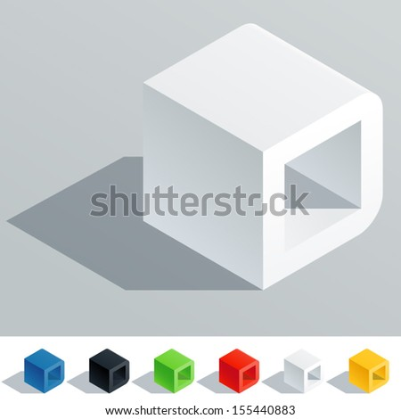 Vector illustration of solid colored letter in isometric view. Cube styled monospace characters. Symbol D - stock vector