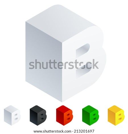 Vector illustration of solid 3D letter in isometric view. Alphabet characters. Letter b - stock vector