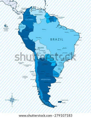 Vector illustration of South America map with countries in blue color. Each country has its capital and major cities.Global colors.South America, background, borders and cities are on separate layers. - stock vector