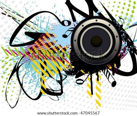 vector illustration of speaker on colourful grunge - stock vector