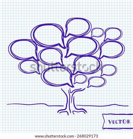 Vector illustration of speech bubble tree, brainstorm and communication concept - stock vector