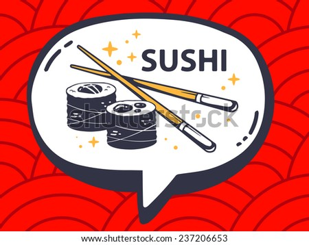 Vector illustration of speech bubble with icon of sushi on red pattern background. Line art design for web, site, advertising, banner, poster, board and print. - stock vector