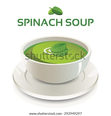 Vector illustration of spinach soup in a white ceramic bowl and cream swirl and spinach leaves garnish on isolated background with text and icon - stock vector
