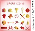 Vector illustration of sport icons on white-pink background - stock vector