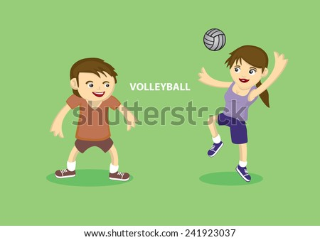 Vector illustration of Sporty young couple playing volleyball isolated on green background - stock vector