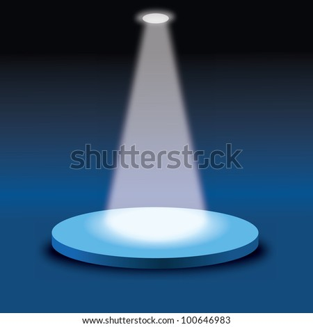 vector illustration of stage with light - stock vector