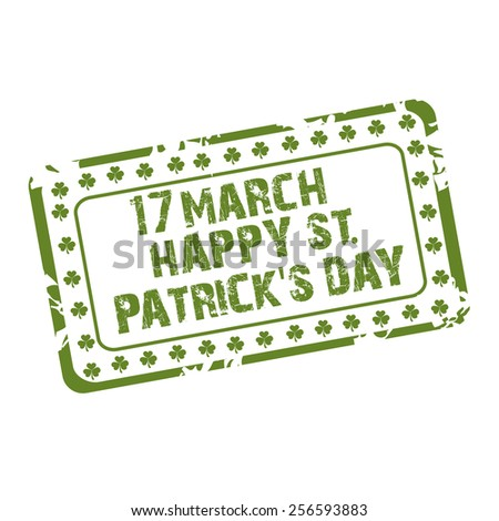 Vector illustration of stamp for Happy St. Patrick's Day. - stock vector