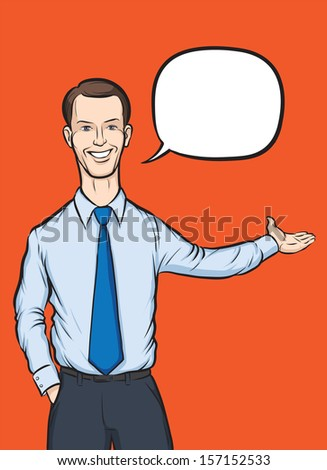 Vector illustration of standing businessman with speech bubble. Easy-edit layered vector EPS10 file scalable to any size without quality loss. High resolution raster JPG file is included. - stock vector