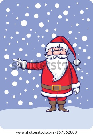 Vector illustration of Standing Santa Claus pointing direction. Easy-edit layered vector EPS10 file scalable to any size without quality loss. High resolution raster JPG file is included.  - stock vector