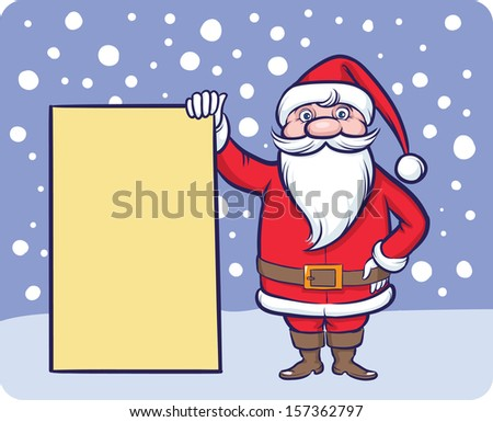 Vector illustration of standing Santa Claus with blank billboard. Easy-edit layered vector EPS10 file scalable to any size without quality loss. High resolution raster JPG file is included.  - stock vector