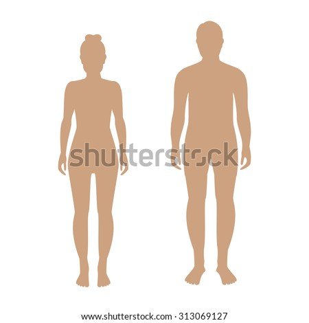 Vector illustration of standing silhouettes of man and woman in beige color. Human man and woman icons. Male and female silhouette - stock vector
