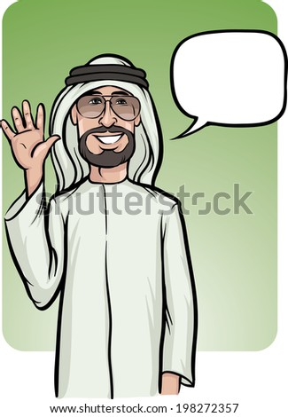 Vector illustration of standing smiling arab man waving hello. Easy-edit layered vector EPS10 file scalable to any size without quality loss. - stock vector