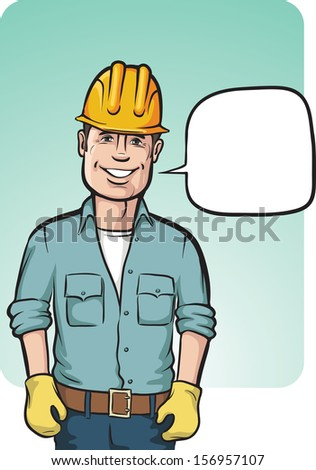 Vector illustration of standing smiling construction worker. Easy-edit layered vector EPS10 file scalable to any size without quality loss. High resolution raster JPG file is included. - stock vector