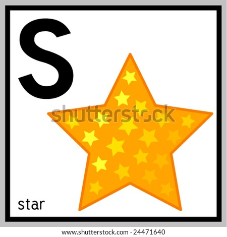 "Vector illustration of star and english letter ""S"". Does not contain any effects like gradients, blends and so on. File format EPS (AI8 compatible). - stock vector"