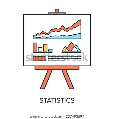 Vector illustration of statistics flat line design concept. - stock vector