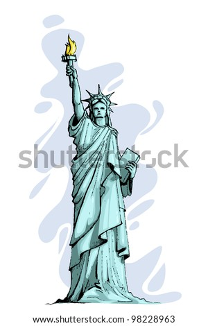 vector illustration of statue of liberty against abstract background - stock vector