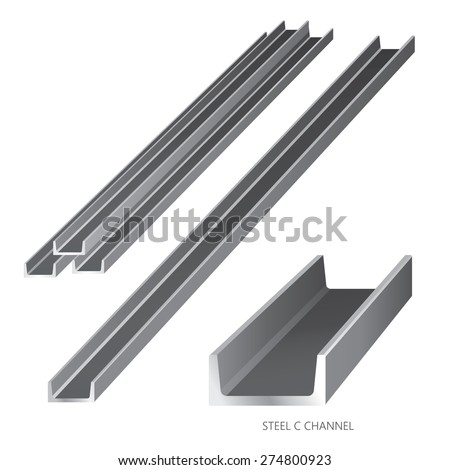 Vector illustration of steel construction isolated (Steel C Channel) on white background. - stock vector