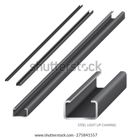 Vector illustration of steel construction isolated (Steel Light Lip Channel) on white background. - stock vector