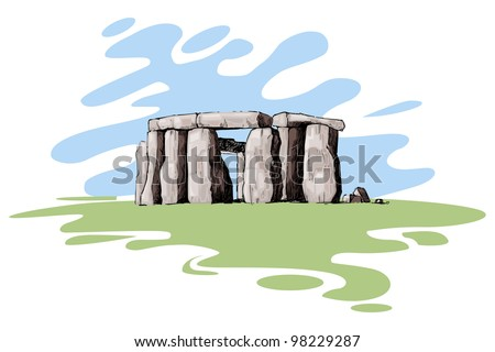 vector illustration of stonehenge against abstract background - stock vector