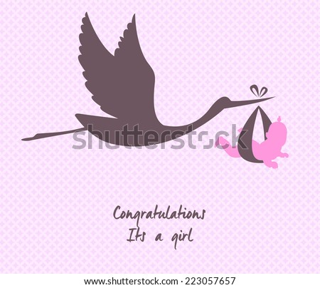 Vector illustration of Stork with baby - stock vector