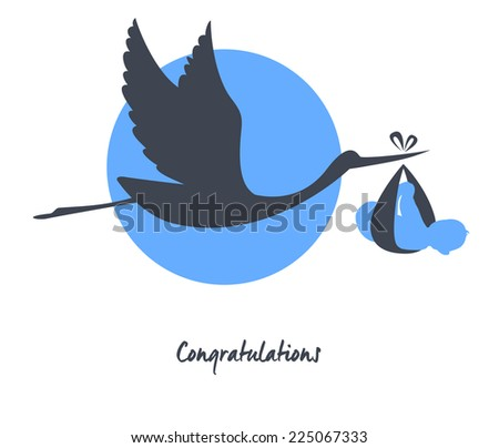 Vector illustration of Stork with baby card - stock vector