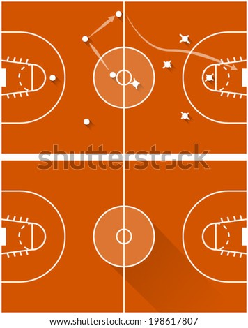 Vector illustration of strategy of a basketball game. Two flat illustration of red game tactics for basketball with white marking and points. - stock vector