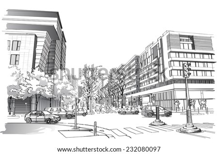 Vector illustration of street in Paris. - stock vector