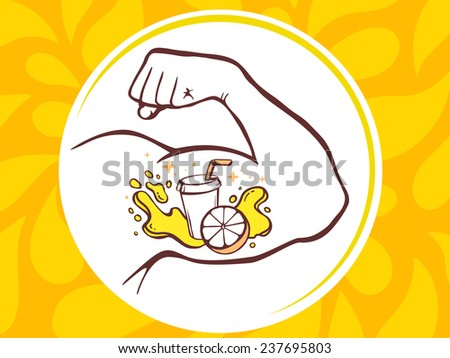 Vector illustration of strong man hand with  icon of fresh fruit juice on yellow pattern background. Manly line art design for web, site, advertising, banner, poster, board and print. - stock vector