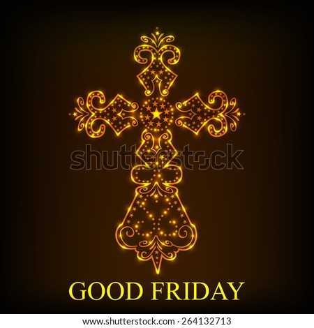 Vector illustration of stylish shiny cross for Good Friday in brown background. - stock vector