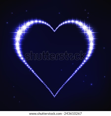 vector illustration of stylized blue regular heart in style of star constellation - stock vector