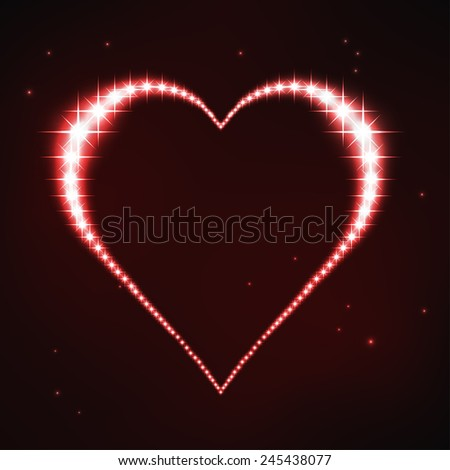 vector illustration of stylized red regular heart in style of star constellation - stock vector
