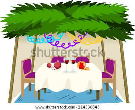 Vector illustration of Sukkah with ornaments table with food for the Jewish Holiday Sukkot.  - stock vector