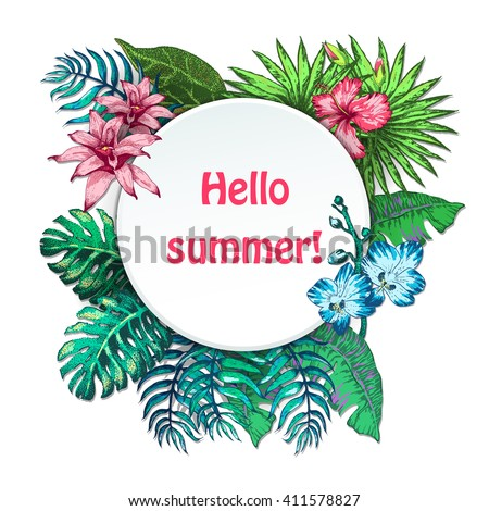 Vector Illustration of Summer holiday Sketch Style for Design, Website, Summer holiday Flowers Doodle Summer holiday Element Template in tropical color. Summer holiday Beach Botany Summer holiday - stock vector