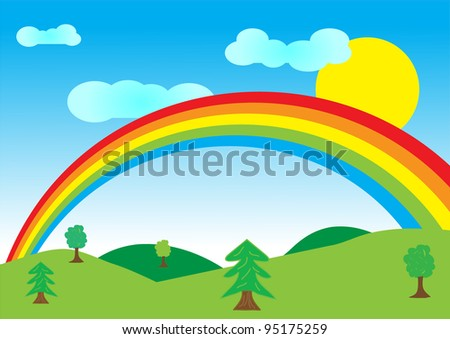 Vector illustration of summer landscape with rainbow. - stock vector