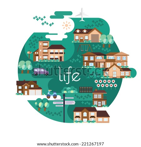 Vector illustration of summer suburbs highland green park neighborhood houses with flowers road sign. With Flat Editorial Style. - stock vector