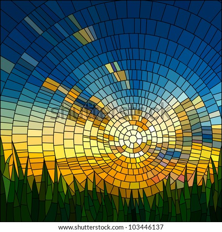 Vector illustration of sunset in blue sky in grass stained glass window. - stock vector