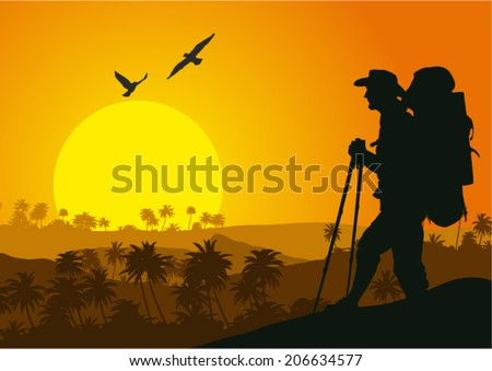 Vector illustration of sunset in the tropical mountains with silhouette of tourist - stock vector