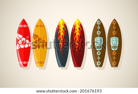 Vector illustration of surf boards in vintage colors  - stock vector