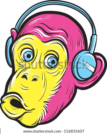 Vector illustration of surprised monkey with headphones. Easy-edit layered vector EPS10 file scalable to any size without quality loss. High resolution raster JPG file is included.  - stock vector