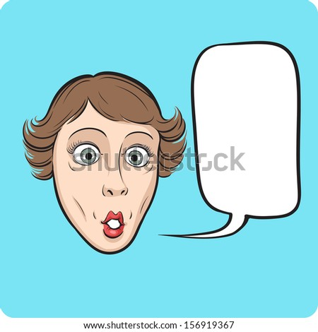Vector illustration of surprised woman with speech bubble. Easy-edit layered vector EPS10 file scalable to any size without quality loss. High resolution raster JPG file is included.  - stock vector