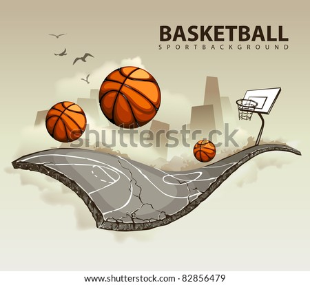 Vector illustration of surreal basketball court hovering in the sky. Layered EPS 10. - stock vector