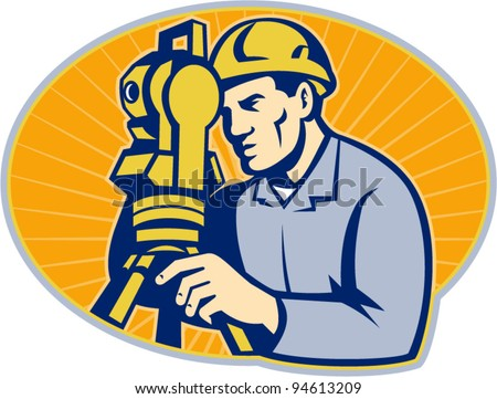 vector Illustration of surveyor civil geodetic engineer worker with theodolite total station equipment set inside ellipse with sunburst done in retro woodcut style, - stock vector