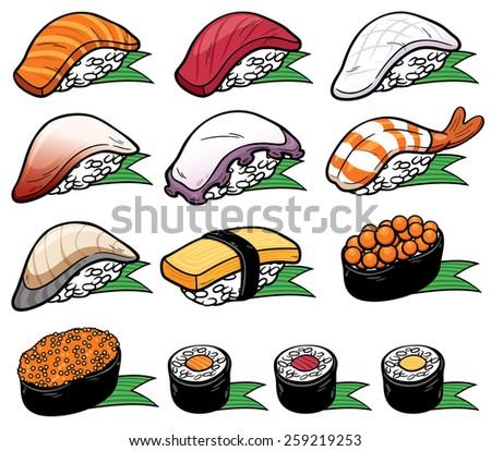 Vector Illustration of Sushi set - stock vector
