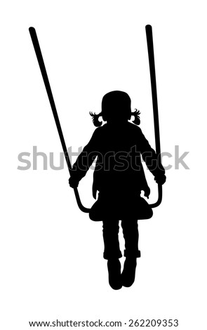 Vector illustration of swinging little kid silhouette - stock vector